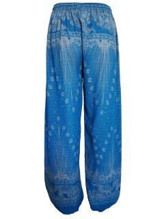Elephant and peacock alibaba trousers – Blue
