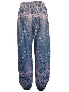 Elephant and peacock alibaba trousers – Grey