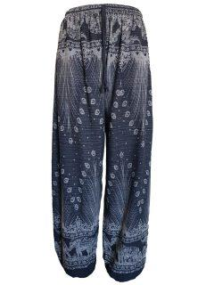 Elephant and peacock alibaba trousers – Black