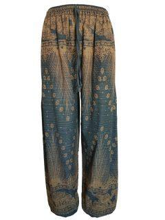 Elephant and peacock alibaba trousers – Green