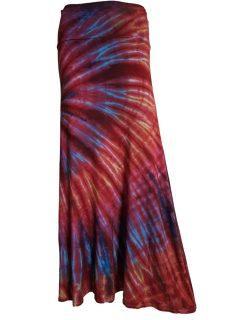 Tie dye long skirt- Crimson