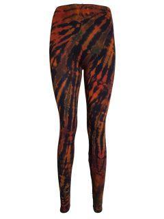 Tie dye leggings: Orange and Black