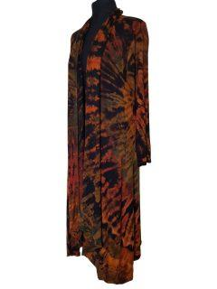 Long Tie dye Cardigan- Black and Orange