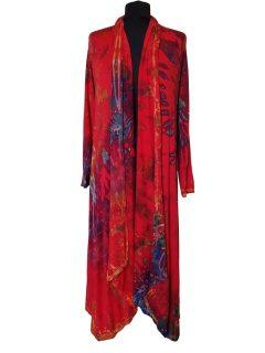 Long Tie dye Cardigan- Red