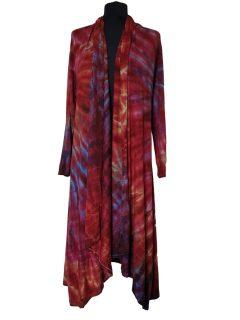 Long Tie dye Cardigan- Crimson