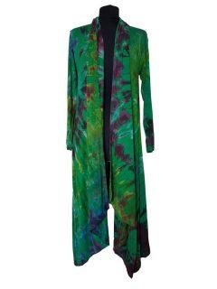 Long Tie dye Cardigan- Emerald Green