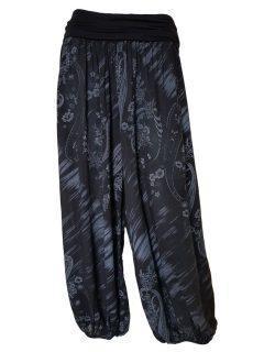 Printed Ali baba trousers – Black