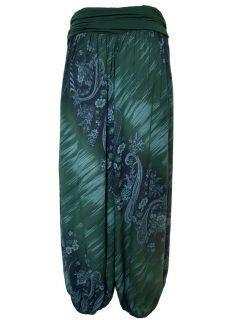 Printed Ali baba trousers – Forest Green