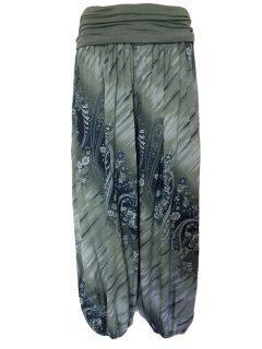 Printed Ali baba trousers – Sage green