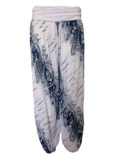 Printed Ali baba trousers – White