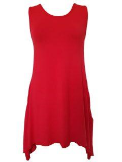 Plain sleeveless tunic – Red
