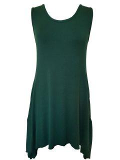 Plain sleeveless tunic – Forest Green