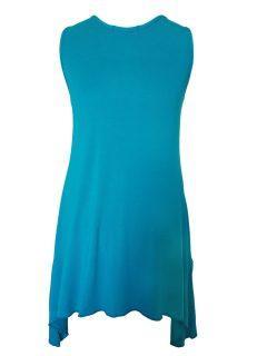 Plain sleeveless tunic – Turquoise