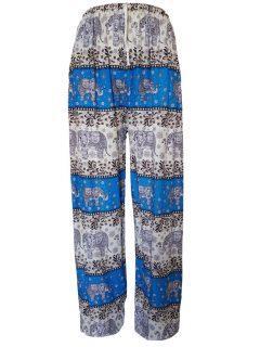 Elephant print Ali baba trousers – Turquoise