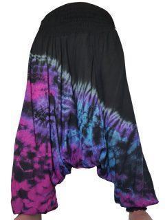 Lightweight Tie dye harem trousers: Black
