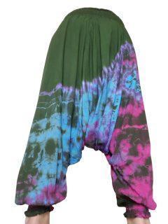 Lightweight Tie dye harem trousers: Green