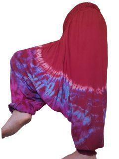 Lightweight Tie dye harem trousers: Red