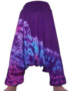 Lightweight Tie dye harem trousers: Purple