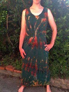 Tie dye maxi dress- Forest Green