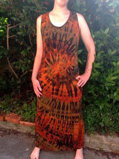 Tie dye maxi dress- Orange and black