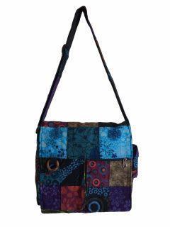 Patchwork pocket messenger bag -Large