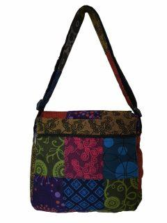 Patchwork messenger buckle bag -Medium