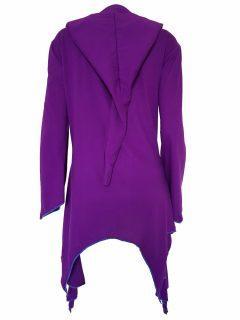 Lightweight printed pixie hood jacket- Purple
