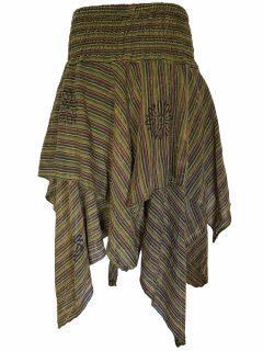 Mid length layered skirt: Green Stonewash