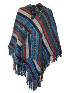 Brushed cotton poncho – Blue
