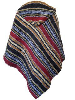 Brushed cotton poncho – Black and Orange