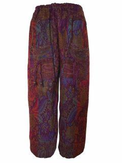 Cashmillon trousers- Purple and Orange leaf print