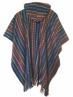 Square Poncho – Red and Blue