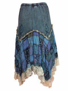 Cotton patchwork skirt – Blue