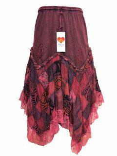 Cotton patchwork skirt – Red
