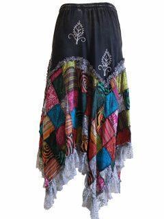Cotton patchwork skirt – Black