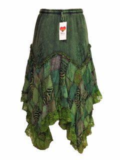 Cotton patchwork skirt – Green
