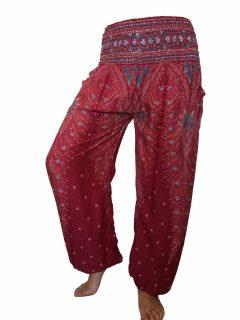 Peacock print Ali baba trousers – Red