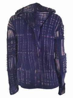 Pixie patchwork rib jacket – Blue