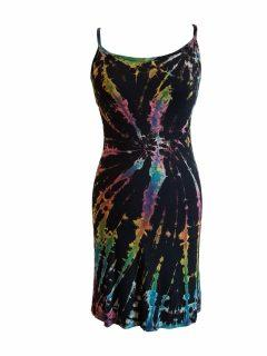 Tie dye strap dress – Black full tie dye