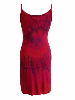 Tie dye strap dress- Red