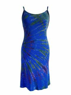 Tie dye strap dress- Royal Blue