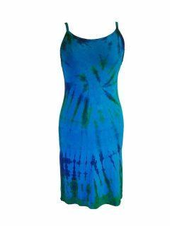 Tie dye strap dress- Turqoise