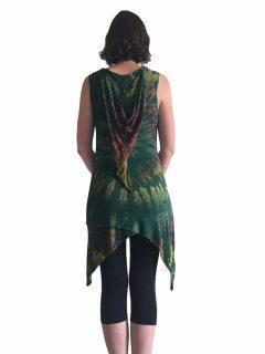 Tie dye Pixie Hood Tunic – Green