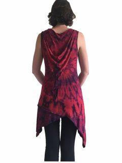 Tie dye Pixie Hood Tunic – Red