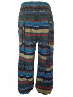 Heavy brushed cotton alibaba trousers – Blue