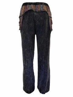 Stonewashed ali baba trousers- Black