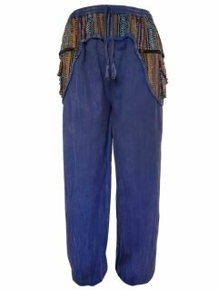 Stonewashed ali baba trousers- Blue