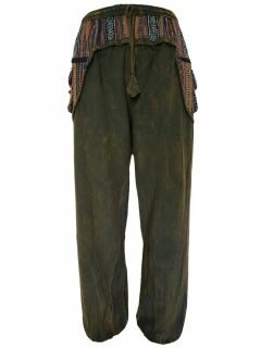 Stonewashed ali baba trousers- Green