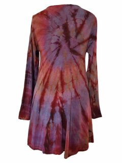 Tie dye long sleeved tunic – Dusty Purple