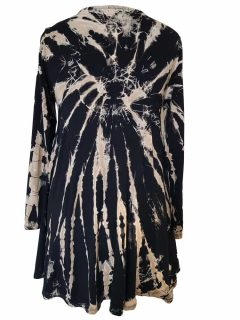 Tie dye long sleeved tunic – Black and White